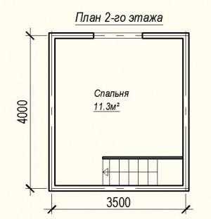 Планировка дома из бруса 4х5 - 2 этаж