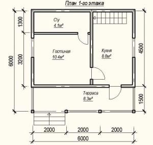 План 1 этажа проекта дома из бруса 6х6 с террасой