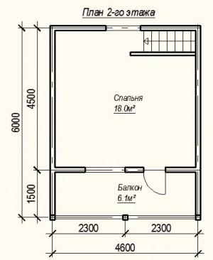 План 2 этажа проекта дома из бруса 6х6 с террасой