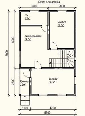 План 1 этажа проекта дома из бруса 5.8 на 8.8