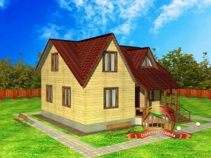 Внешний вид дома из бруса 8 х 9