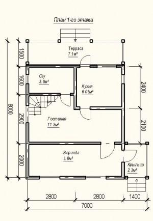 План 1 этажа проекта дома из бруса 7 на 8 метров