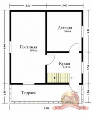 Планировка внутреннего пространства дома из бруса 6 на 6