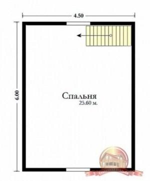 План верхнего этажа дома из бруса с террасой