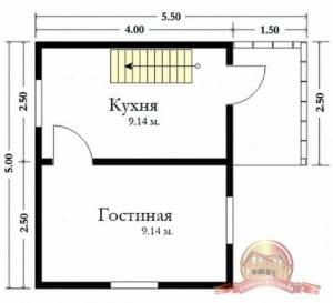 Планировка первого этажа маленького сруба из бруса 4х5