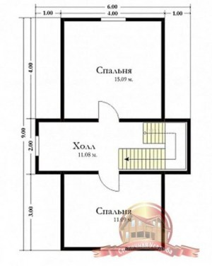 План верхнего этажа проекта дома из бруса 6х9