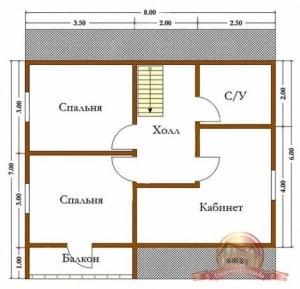 План второго этажа сруба из бруса 8 на 8 с террасой