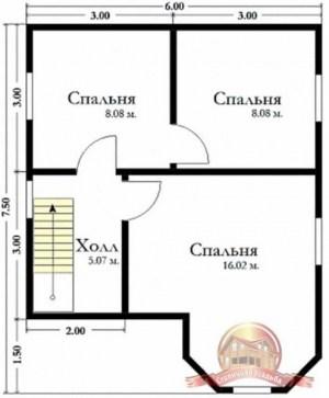 План верхнего этажа дома из бруса 6 на 7.5 с эркером
