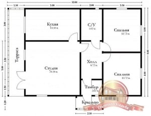 План одноэтажного дома из бруса 12 на 8