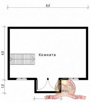 План второго этажа сруба из бруса 6 на 6 с тамбуром