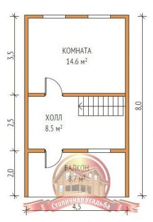 План 2 этажа дома из бруса 6х5