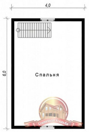 План 2 этажа сруба из бруса 6х8 с санузлом