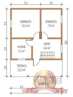 Планировка нижнего этажа брусового сруба 6 на 8
