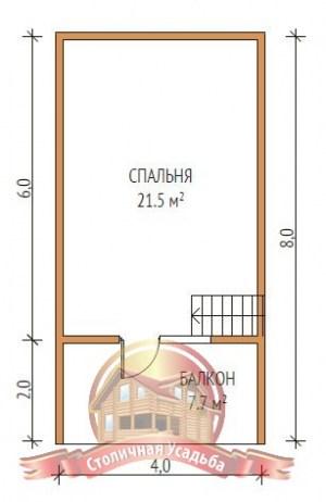 План верхнего этажа дома из бруса6х8 с балконом