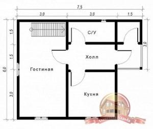 План первого этажа проекта дома из бруса 6 на 7.5 с кладовой