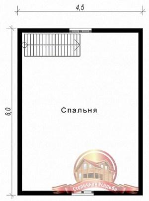 План второго этажа сруба из бруса 6х7.5 с санузлом