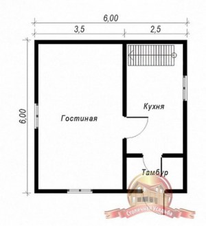 План 1 этажа проекта дома из бруса 6 на 6 с балконом