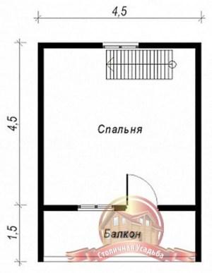 План второго этажа сруба из бруса 6х6