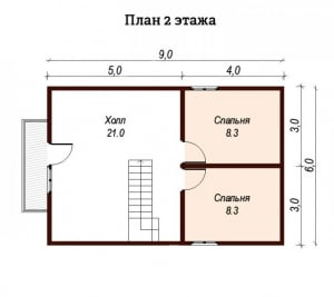 План второго этажа проекта дома из бруса 7х7.5 с балконом