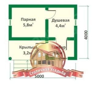 План первого этажа проекта небольшой бревенчатой бани