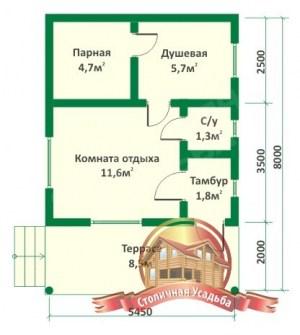 План этажа проекта небольшой деревянной бани 5x8