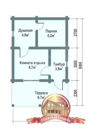 План первого этажа бани с удачной планировкой