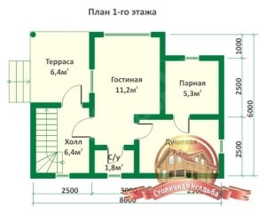 План первого этажа для бревенчатой бани 6х8