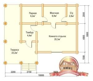 План первого этажа проекта бревенчатой бани 8х10
