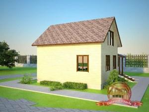 Небольшой домик из бруса в два этажа для небольшой семьи