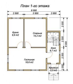 План первого этажа проекта дома из бруса 8х8