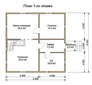 Первый этаж проекта дома из бруса 9 на 9