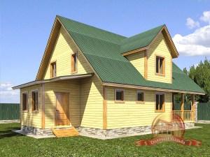 Проект дома из бруса с ломаной крышей 9 на 13