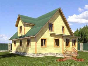 Вид на дом из бруса с большой террасой