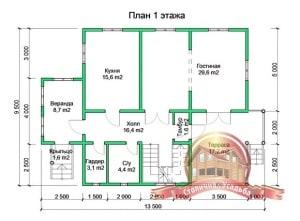 Планировка 1 этажа проекта дома из бруса 9х13 с большой террасой