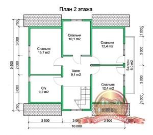 Планировка 2 этажа проекта дома из бруса 9х13 с большой террасой