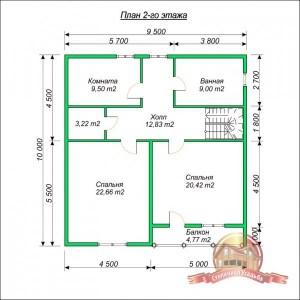 Планировка2 этажа коттеджа из бруса 10х10 с ломаной крышей