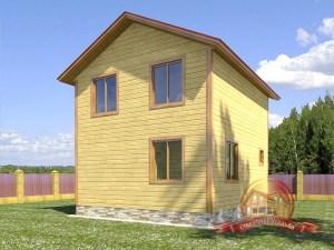 Дом из бруса с двускатной крышей 9х6