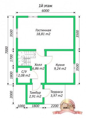План 1 этажа коттеджа из бруса 6х9 для узкого участка