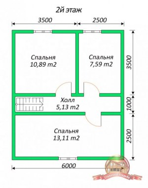 План 2 этажа коттеджа из бруса 6х9 для узкого участка
