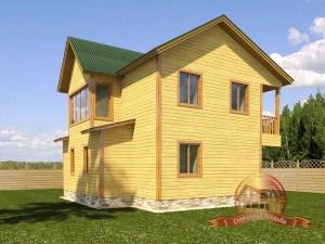 Проект дома из бруса 9х10 с балконом