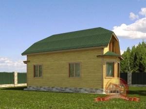 Большой брусовой коттедж с балконом и террасой