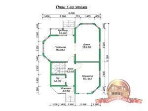 План 1 этажа проекта коттеджа 8х11 из бруса с двумя эркерами