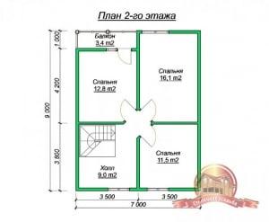План 2 этажа проекта коттеджа 8х11 из бруса с двумя эркерами
