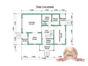 План 1 этажа элитного дома из бруса 7х11 со вторым светом