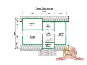 План 2 этажа элитного дома из бруса 7х11 со вторым светом