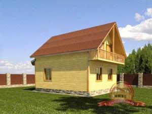 Большой дом из бруса 7 на 9 с эркером
