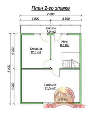План 2 этажа коттеджа из профилированного бруса 7х9 с эркером и балконом