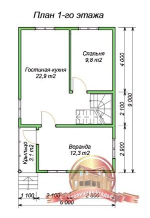 План 1 этажа проекта коттеджа 6х9 из бруса для узкого участка