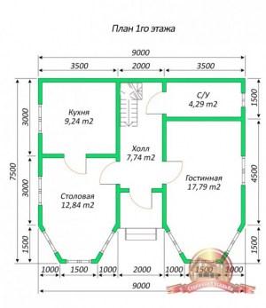 План 1 этажа проекта коттеджа 7х9 с двумя эркерами