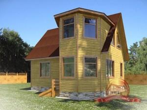 Оригинальный дом из бруса 8 на 8